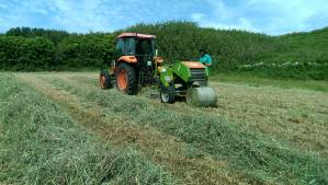 Haylage being but in our fields. We use smaller Alpine equipment, great for our small fields